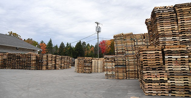 Pallet inventory stacked in our yard located in Dayton, OH