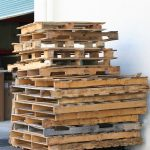 Recycled pallets being stacked by our customer for pick up in Dayton, OH